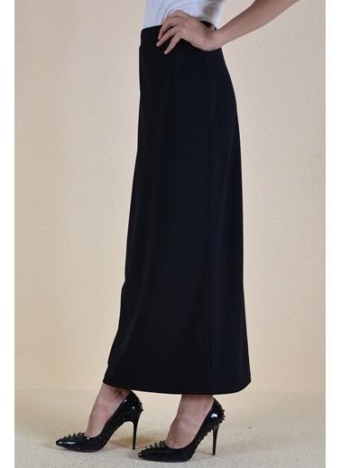 Butikburuç Belden Sıkma Düz Uzun Kadın Etek  Siyah